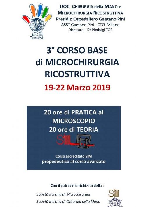 3° CORSO BASE DI MICROCHIRURGIA RICOSTRUTTIVA